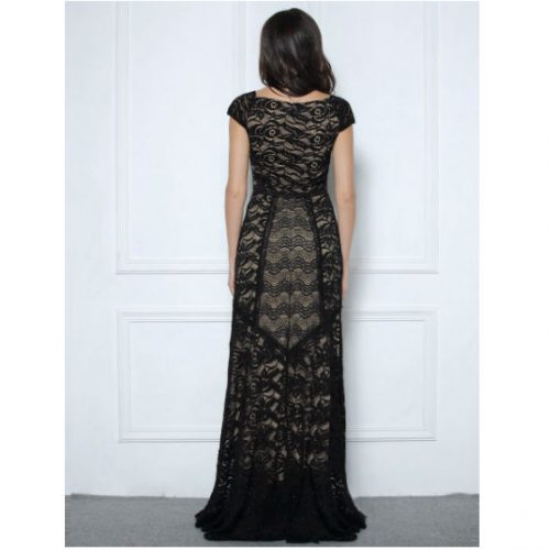 Woman Dress Long Lace Maxi Cocktail vintage back