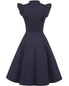 Cocktail Dress Swing with Sleeves Cap Navy back