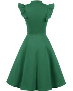 Cocktail Dress Swing with Sleeves Cap Green Back