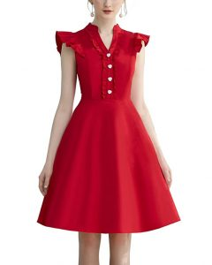 Cocktail Dress Swing with Sleeves Cap.