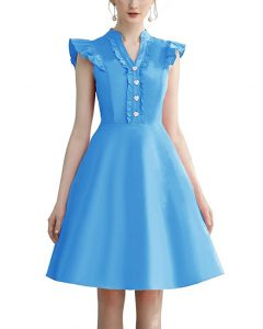 Cocktail Dress Swing with Sleeves Cap Blue