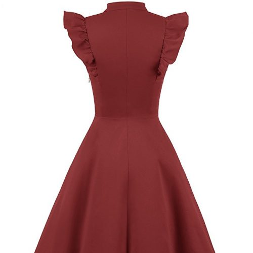Cocktail Dress Swing with Sleeves Cap Burgundy Back