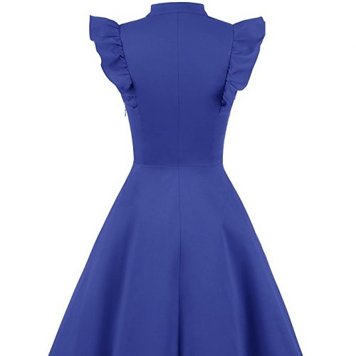 Cocktail Dress Swing with Sleeves Cap Royal Blue Back