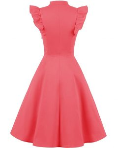 Cocktail Dress Swing with Sleeves Cap Coral Back
