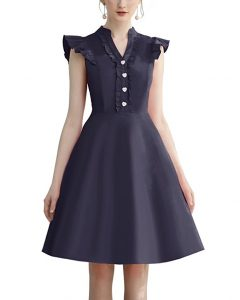 Cocktail Dress Swing with Sleeves Cap Navy