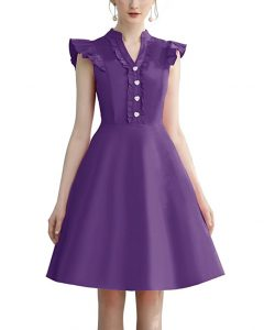 Cocktail Dress Swing with Sleeves Cap purple