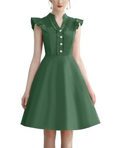 Cocktail Dress Swing with Sleeves Cap Green
