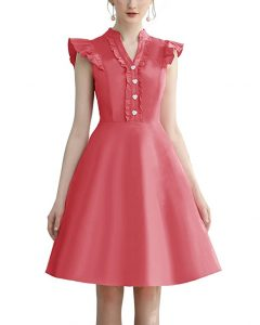 Cocktail Dress Swing with Sleeves Cap Coral