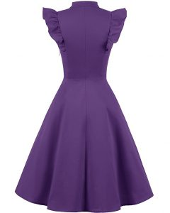 Cocktail Dress Swing with Sleeves Cap purple back