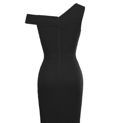 Pencil sexy stretch dress from rockabilly dress black back