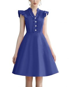 Cocktail Dress Swing with Sleeves Cap Royal Blue