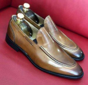 Andrea Nobile Mocassin zone simple italian style Brown side