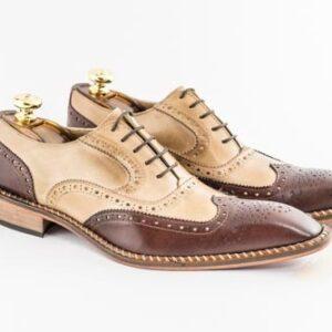 Italian Calu leather bicolor brown shoes