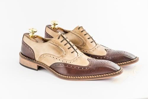 Italian Calu leather bicolor brown shoes