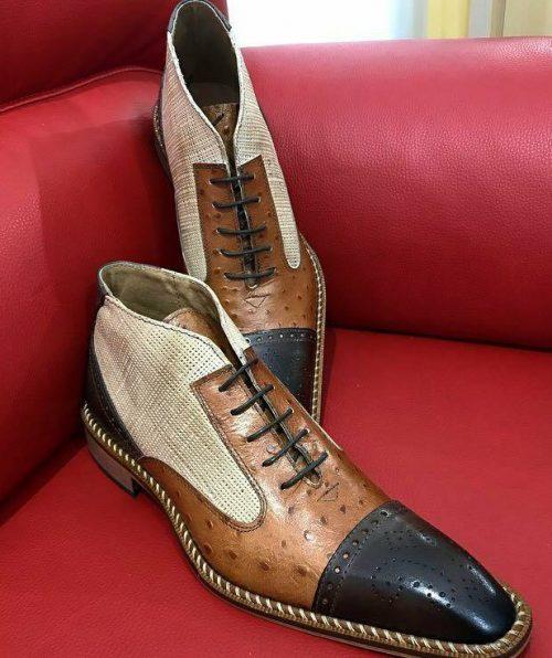 Italian Bicolor Boots calu brown