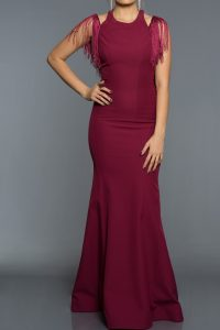 Long Abi Plum Evening Dress