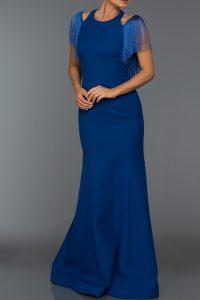 Long Abi Sax Blue Evening Dress
